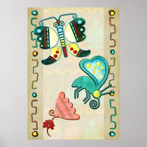 Zuni Butterfly 2 Folk Art Posters