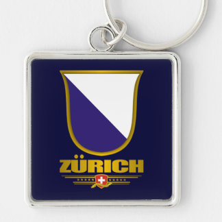 Zurich Silver-Colored Square Key Ring