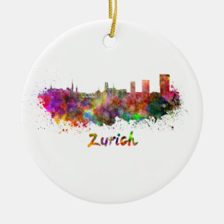 Zurich skyline in watercolor christmas ornament