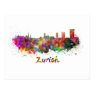 Zurich skyline in watercolor postcard