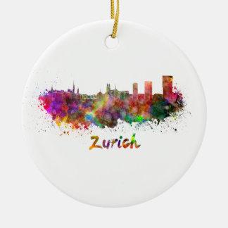 Zurich skyline in watercolor round ceramic decoration