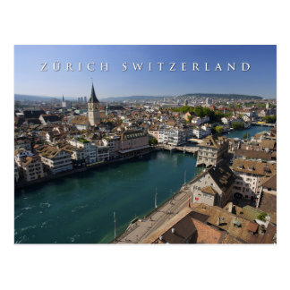 zurich switzerland cityscape postcard