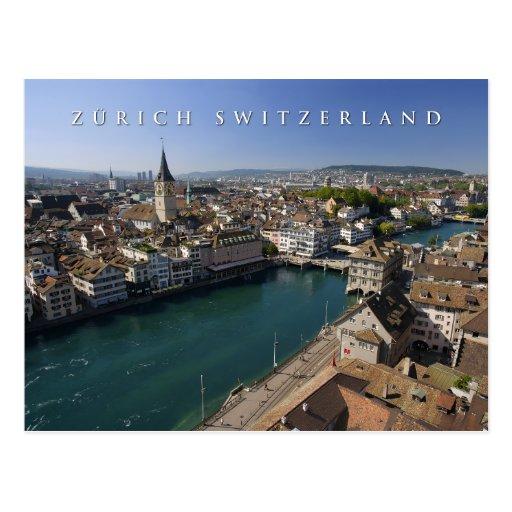 zurich switzerland cityscape post cards