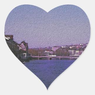 Zurich Switzerland Digital art. Heart Sticker