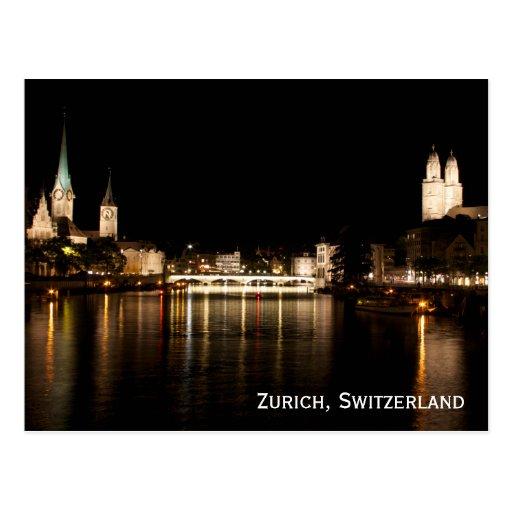 Zurich Switzerland Night Lights Postcard