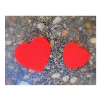 zwei Herzen two hearts Postcard