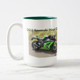 ZX10R Wheelie past Gixxer Two-Tone Coffee Mug
