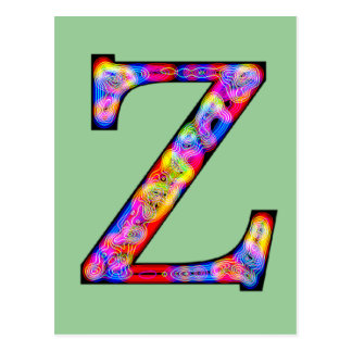Zz Illuminated Monogram Postcard
